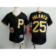 MLB Pittsburgh Pirates 25 Gregory Polanco Black Youth Jersey