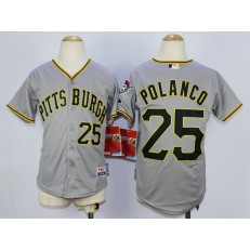 MLB Pittsburgh Pirates 25 Gregory Polanco Gray Youth Jersey