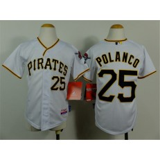 MLB Pittsburgh Pirates 25 Gregory Polanco White Youth Jersey