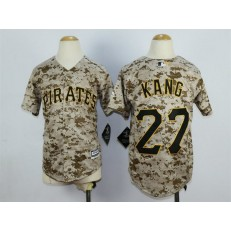 MLB Pittsburgh Pirates 27 Jung-ho Kang Alternate Camo 2015 Cool Base Youth Jersey