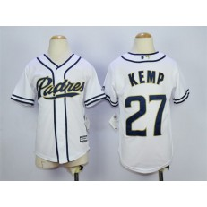 MLB San Diego Padres 27 Matt Kemp White Home Cool Base Youth Jersey