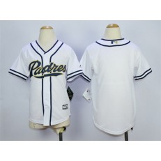 MLB San Diego Padres Blank White Home Cool Base Youth Jersey