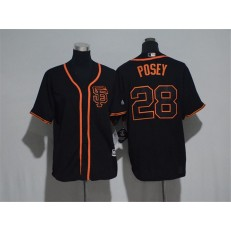 MLB San Francisco Giants 28 Buster Posey Black SF Stitched Majestic Cool Base Youth Jersey