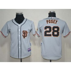 MLB San Francisco Giants 28 Buster Posey Grey Cool Base Youth Jersey