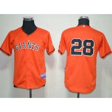 MLB San Francisco Giants 28 Buster Posey Orange Cool Base Youth Jersey