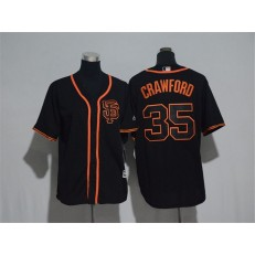 MLB San Francisco Giants 35 Brandon Crawford Black SF Stitched Majestic Cool Base Youth Jersey