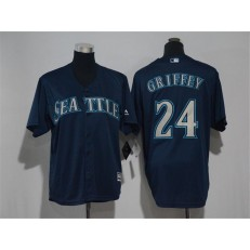 MLB Seattle Mariners 24 Ken Griffey Navy Blue Cool Base Stitched Youth Jersey