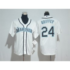 MLB Seattle Mariners 24 Ken Griffey White Cool Base Stitched Youth Jersey
