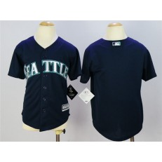 MLB Seattle Mariners Blank Navy Blue Cool Base Baseball Youth Jersey
