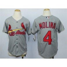 MLB St. Louis Cardinals 4 Yadier Molina Away Gray 2015 Cool Base Youth Jersey