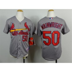 MLB St. Louis Cardinals 50 Adam Wainwright Gray Youth Jersey