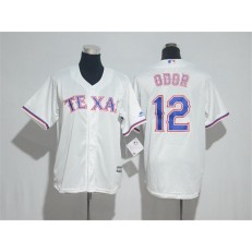 MLB Texas Rangers 12 Rougned Odor White Cool Base Stitched Youth Jersey