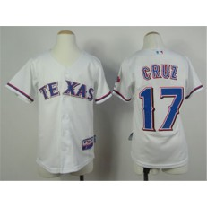 MLB Texas Rangers 17 Nelson Cruz White Youth Jersey