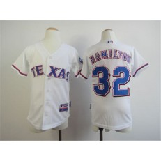 MLB Texas Rangers 32 Josh Hamilton White Youth Jersey