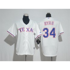 MLB Texas Rangers 34 Nolan Ryan White Cool Base Stitched Youth Jersey