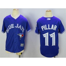 MLB Toronto Blue Jays 11 Kevin Pillar Blue 40th Anniversary Patch Stitched Majestic Cool Base Youth Jersey