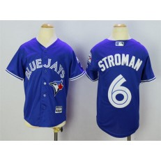 MLB Toronto Blue Jays 6 Marcus Stroman Blue 40th Anniversary Patch Stitched Majestic Cool Base Youth Jersey