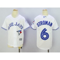MLB Toronto Blue Jays 6 Marcus Stroman White 40th Anniversary Patch Stitched Majestic Cool Base Youth Jersey