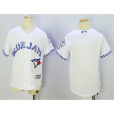 MLB Toronto Blue Jays Blank White 40th Anniversary Patch Stitched Majestic Cool Base Youth Jersey