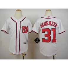 MLB Washington Nationals 31 Max Scherzer Home White 2015 Cool Base Youth Jersey