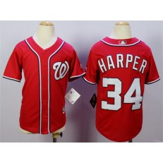 MLB Washington Nationals 34 Bryce Harper Alternate Red 2015 Cool Base Youth Jersey