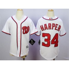 MLB Washington Nationals 34 Bryce Harper Home White 2015 Cool Base Youth Jersey