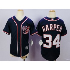 MLB Washington Nationals 34 Bryce Harper Navy Blue 2015 Cool Base Youth Jersey