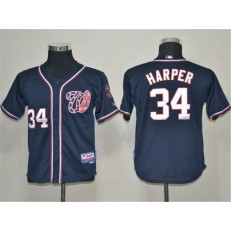 MLB Washington Nationals 34 Bryce Harper Navy Blue Youth Jersey