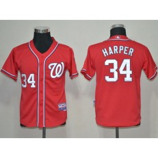 MLB Washington Nationals 34 Bryce Harper Red Youth Jersey
