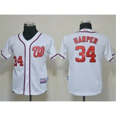 MLB Washington Nationals 34 Bryce Harper White Youth Jersey