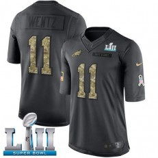 Youth Nike Philadelphia Eagels Super Bowl LII 11 Carson Wentz Black Salute to Service NFL Jersey