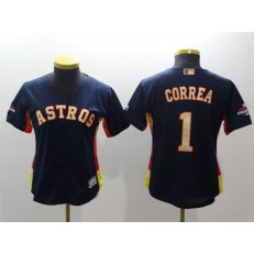 MLB Houston Astros 1 Carlos Correa Navy 2018 World Series Champions Gold Program Cool Base Stitched Baseball Women Jersey