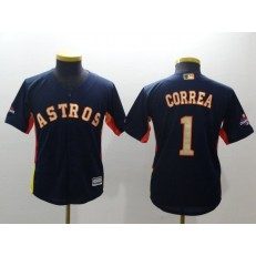 MLB Houston Astros 1 Carlos Correa Navy 2018 World Series Champions Gold Program Cool Base Stitched Baseball Youth Jersey