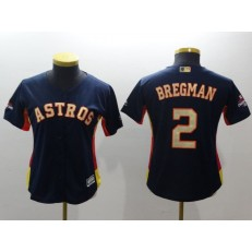 MLB Houston Astros 2 Alex Bregman Navy 2018 World Series Champions Gold Program Cool Base Stitched Baseball Women Jersey