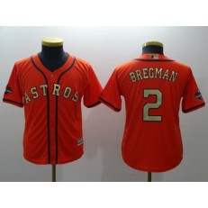 MLB Houston Astros 2 Alex Bregman Orange 2018 World Series Champions Gold Program Cool Base Stitched Baseball Youth Jersey