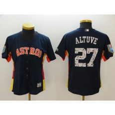 MLB Houston Astros 27 Jose Altuve Navy 2018 Spring Training Cool Base Women Jersey