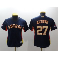 MLB Houston Astros 27 Jose Altuve Navy 2018 World Series Champions Gold Program Cool Base Stitched Baseball Women Jersey