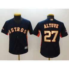 MLB Houston Astros 27 Jose Altuve Navy 2018 World Series Champions Gold Program Cool Base Stitched Baseball Youth Jersey