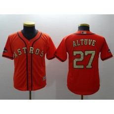 MLB Houston Astros 27 Jose Altuve Orange 2018 World Series Champions Gold Program Cool Base Stitched Baseball Youth Jersey