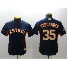 MLB Houston Astros 35 Justin Verlander Navy 2018 World Series Champions Gold Program Cool Base Stitched Baseball Women Jersey
