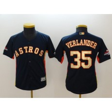 MLB Houston Astros 35 Justin Verlander Navy 2018 World Series Champions Gold Program Cool Base Stitched Baseball Youth Jersey