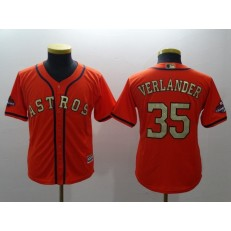 MLB Houston Astros 35 Justin Verlander Orange 2018 World Series Champions Gold Program Cool Base Stitched Baseball Youth Jersey