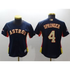MLB Houston Astros 4 George Springer Navy 2018 World Series Champions Gold Program Cool Base Stitched Baseball Women Jersey