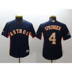 MLB Houston Astros 4 George Springer Navy 2018 World Series Champions Gold Program Cool Base Stitched Baseball Youth Jersey