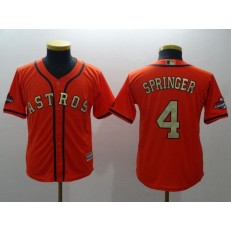 MLB Houston Astros 4 George Springer Orange 2018 World Series Champions Gold Program Cool Base Stitched Baseball Youth Jersey