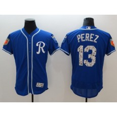 MLB Kansas City Royals 13 Salvador Perez Royal Blue 2018 Spring Training Authentic Flex Base Stitched Men Jersey