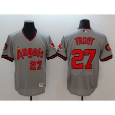 MLB Los Angeles Angels of Anaheim 27 Mike Trout Grey Flexbase Authentic Collection Cooperstown Stitched Men Jersey