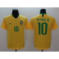 Brazil 10 Neymar JR Home 2018 FIFA World Cup Thailand Soccer Men Jersey