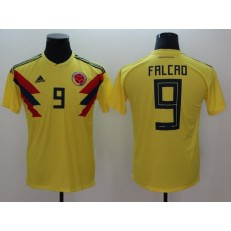 Colombia 9 Radamel Falcao Home 2018 FIFA World Cup Thailand Soccer Men Jersey