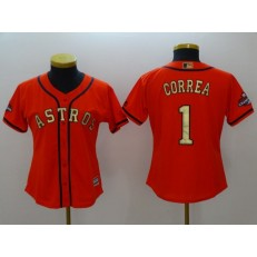 MLB Houston Astros 1 Carlos Correa Orange 2018 Gold Program Cool Base Women Jersey